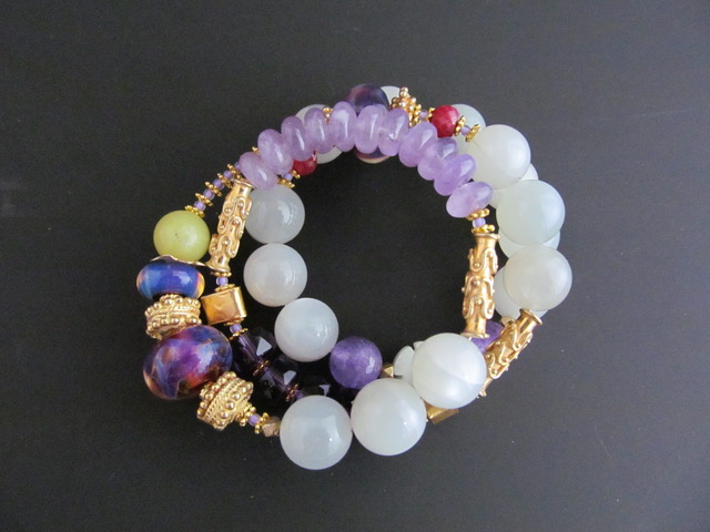 WRAP GEMSTONE BRACELET Chalcedony, Various Gemstones and Gold Plated Beads